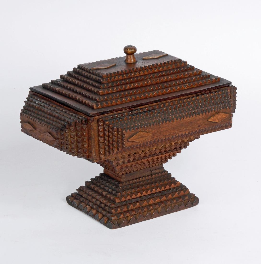 Dated 1893 Tramp Art Box by Civil War Soldier
