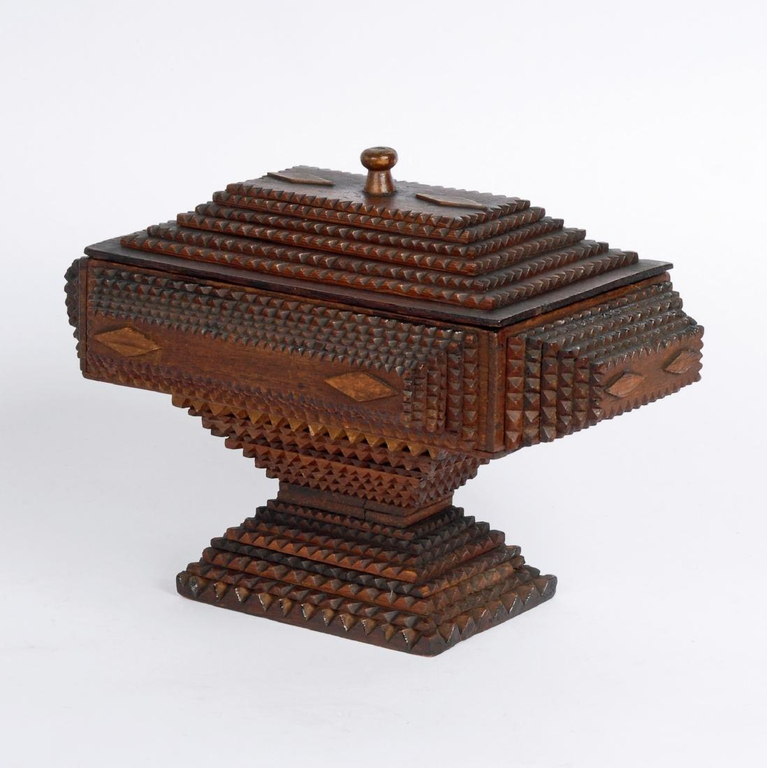 Dated 1893 Tramp Art Box by Civil War Soldier - 2