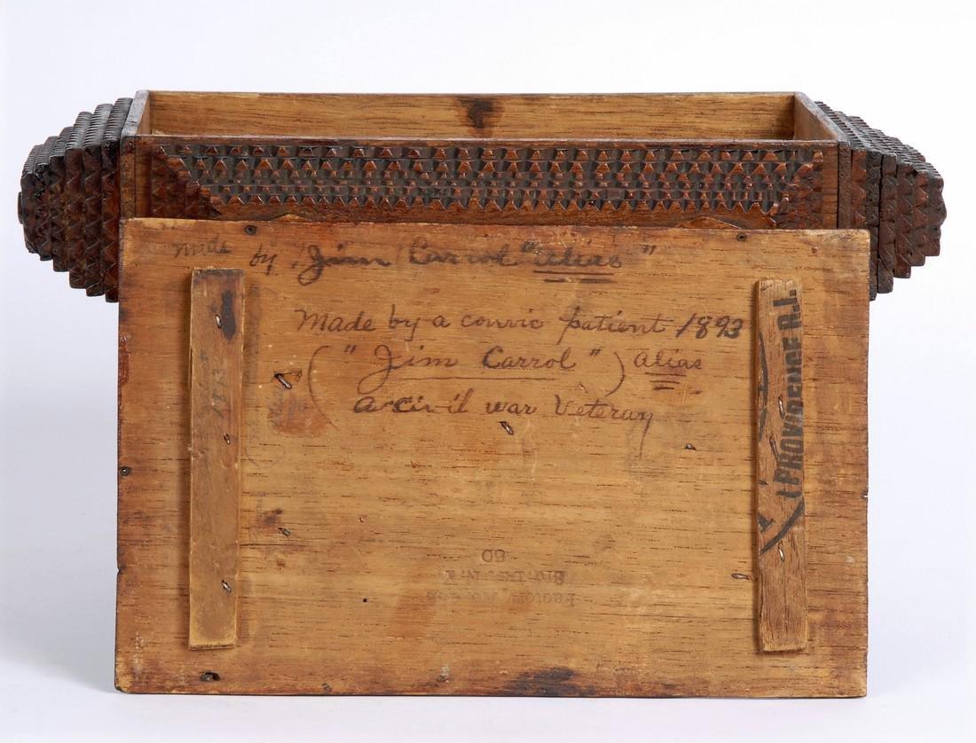 Dated 1893 Tramp Art Box by Civil War Soldier - 3