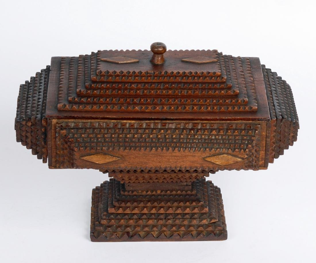 Dated 1893 Tramp Art Box by Civil War Soldier - 4
