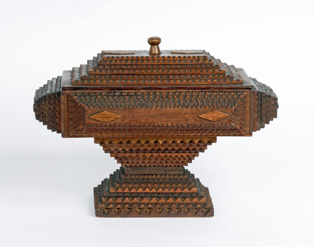 Dated 1893 Tramp Art Box by Civil War Soldier - 5