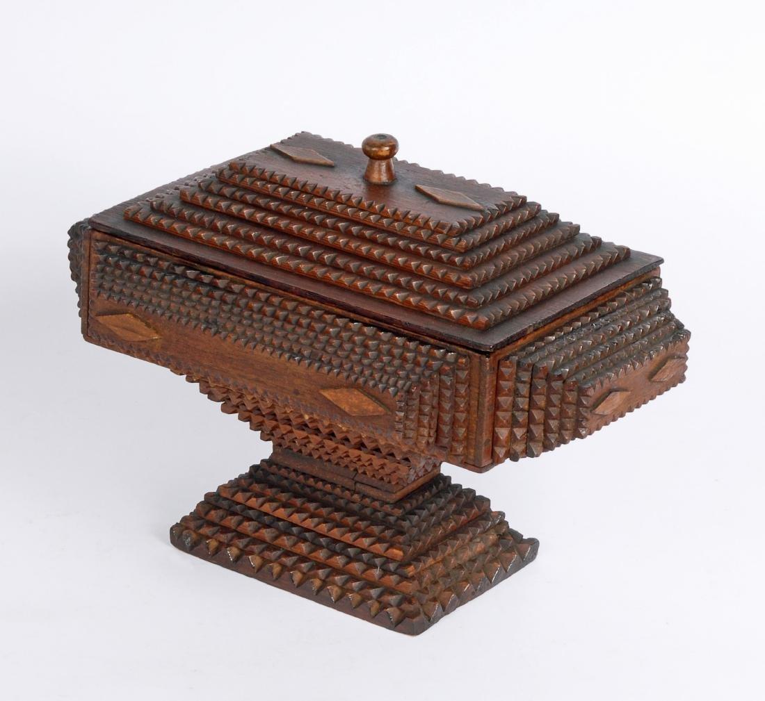 Dated 1893 Tramp Art Box by Civil War Soldier - 6
