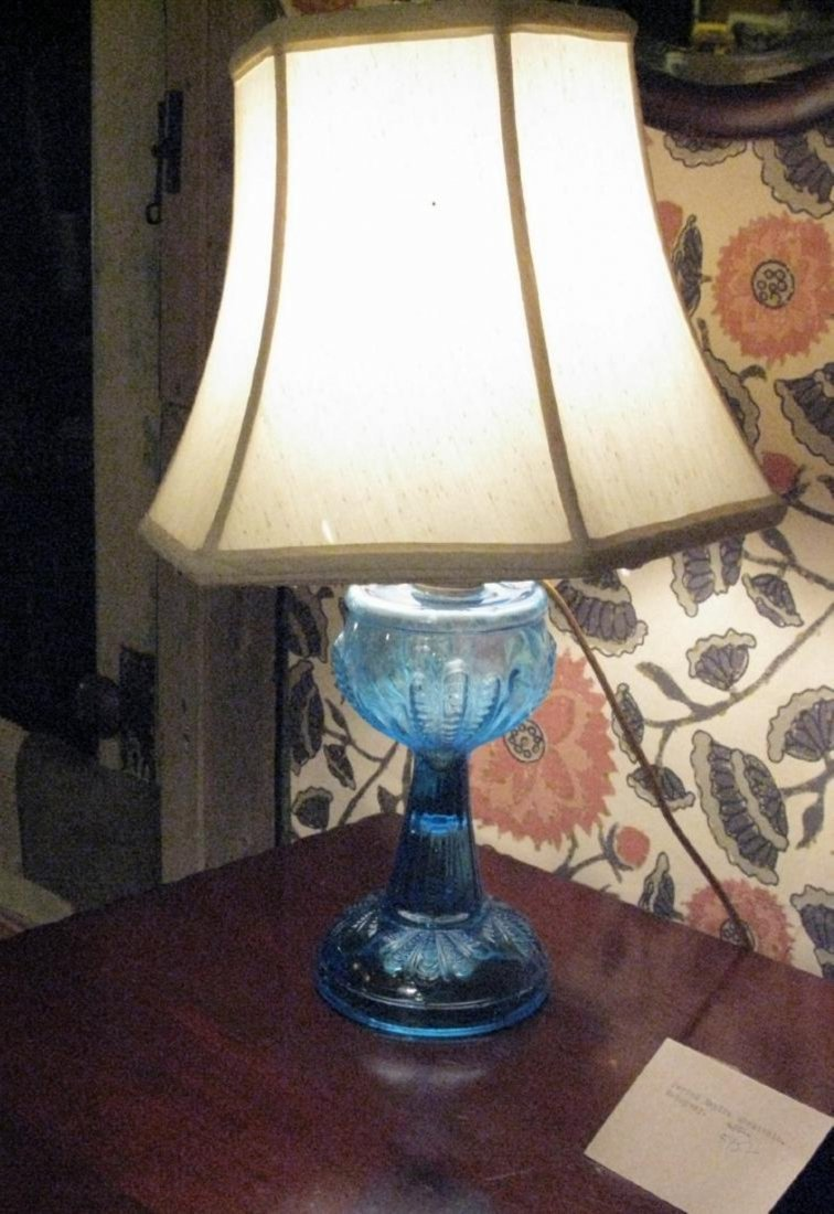 Early American Glass Blue Lamp