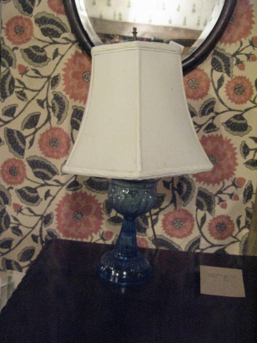 Early American Glass Blue Lamp - 2
