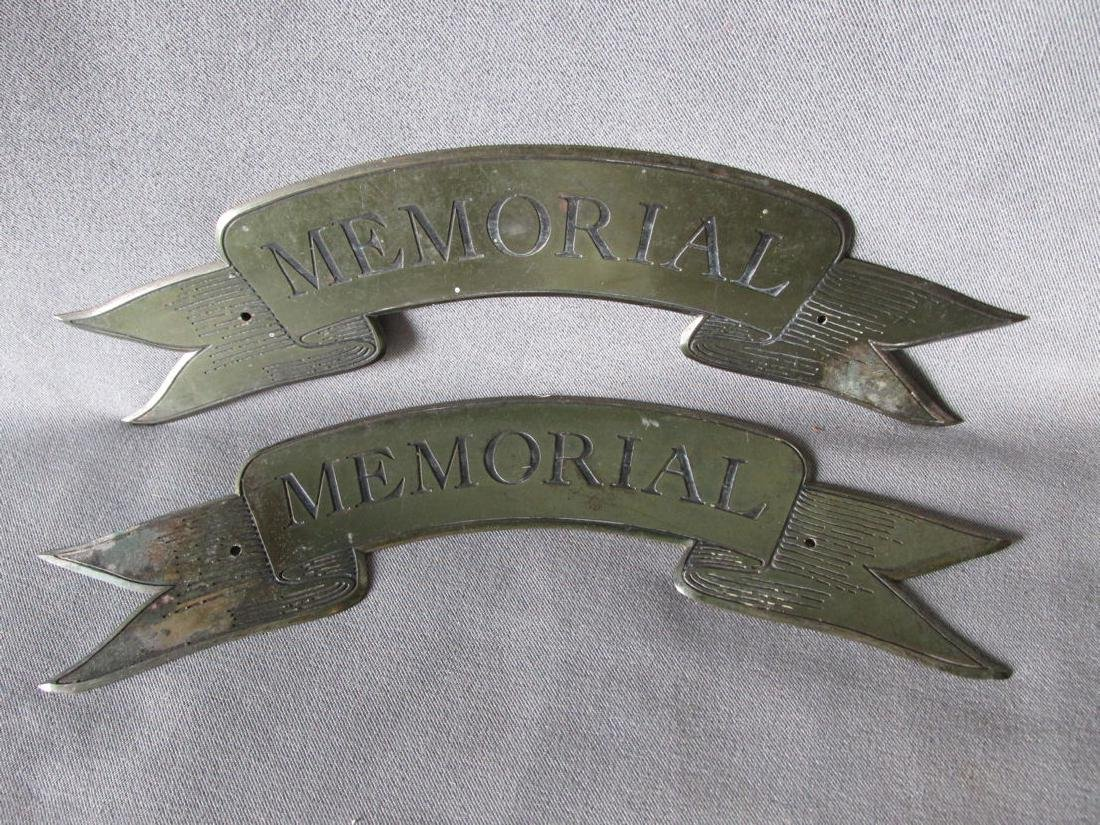 19th C Antique Bronze Memorial Plaques Engraved Ribbons