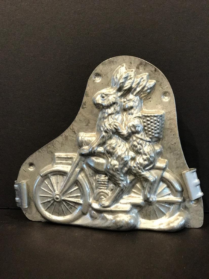 Motor-cycle Riding Rabbits Chocolate Mold, Early 20th c