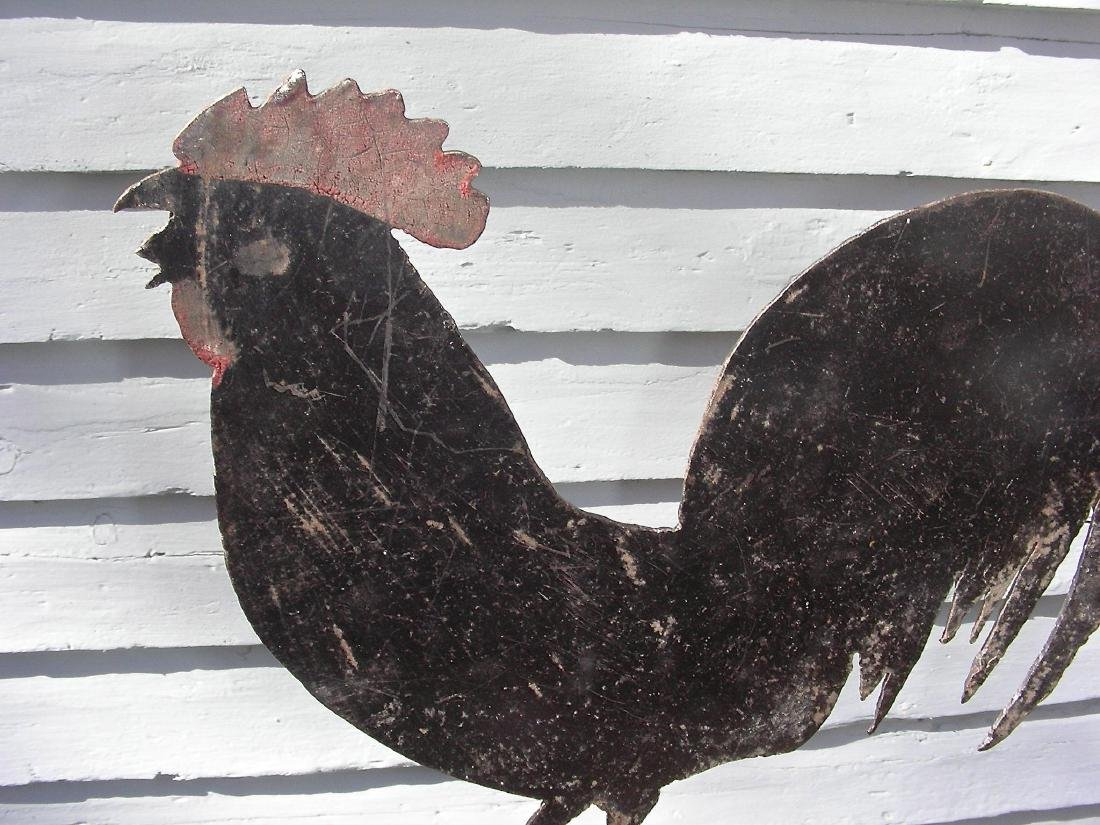 Small Sheet Metal Rooster Weathervane, Original Surface - 6