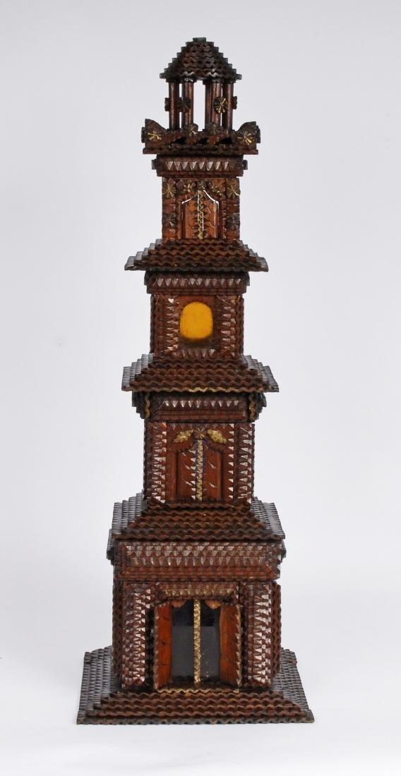 Folk Art Tramp Art House Shaped Box & Tower on Platform - 10