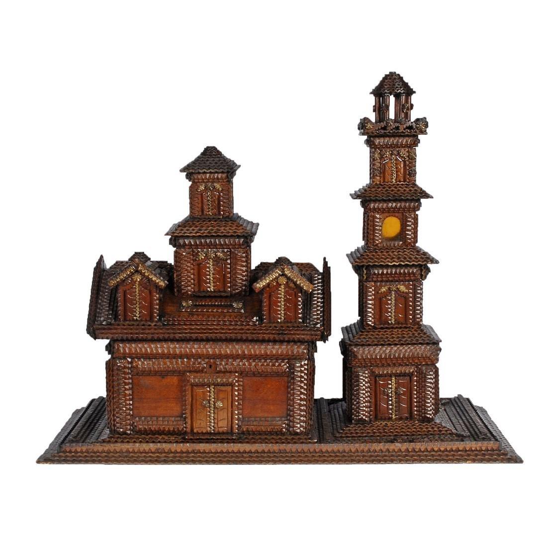 Folk Art Tramp Art House Shaped Box & Tower on Platform