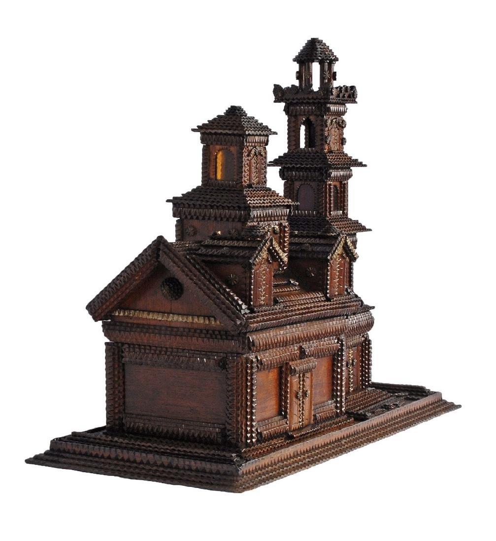 Folk Art Tramp Art House Shaped Box & Tower on Platform - 2