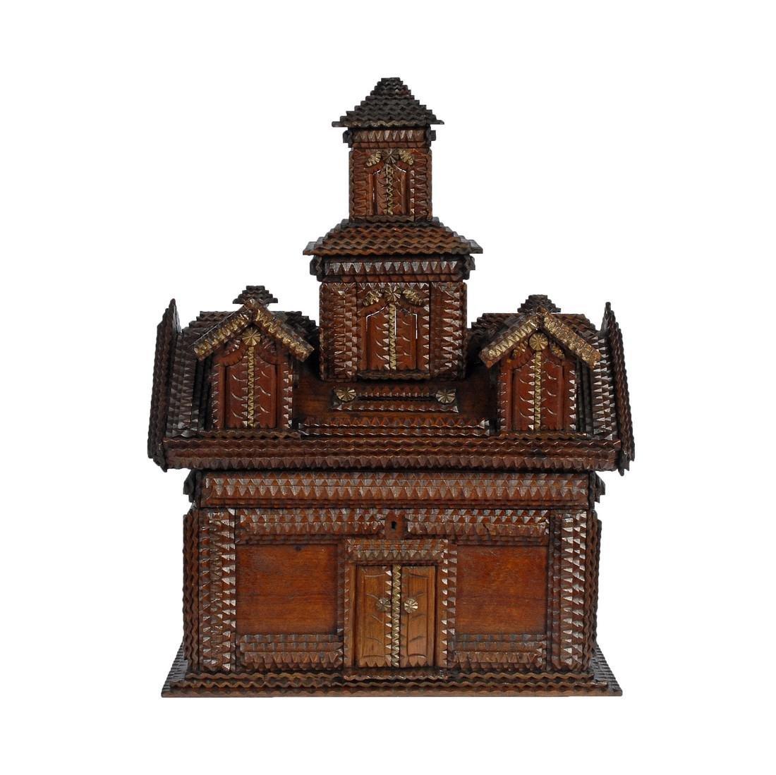 Folk Art Tramp Art House Shaped Box & Tower on Platform - 3