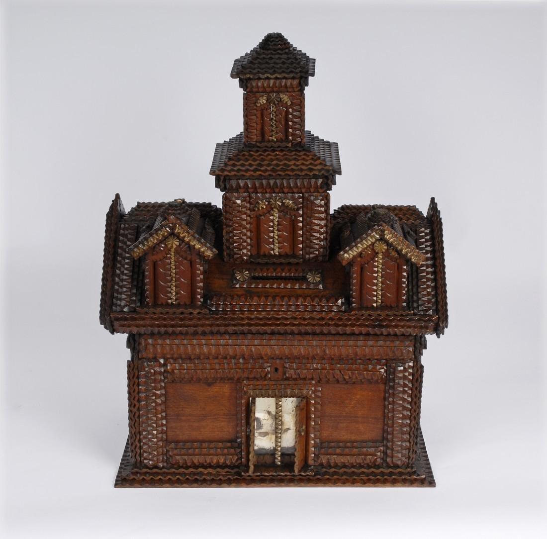 Folk Art Tramp Art House Shaped Box & Tower on Platform - 5