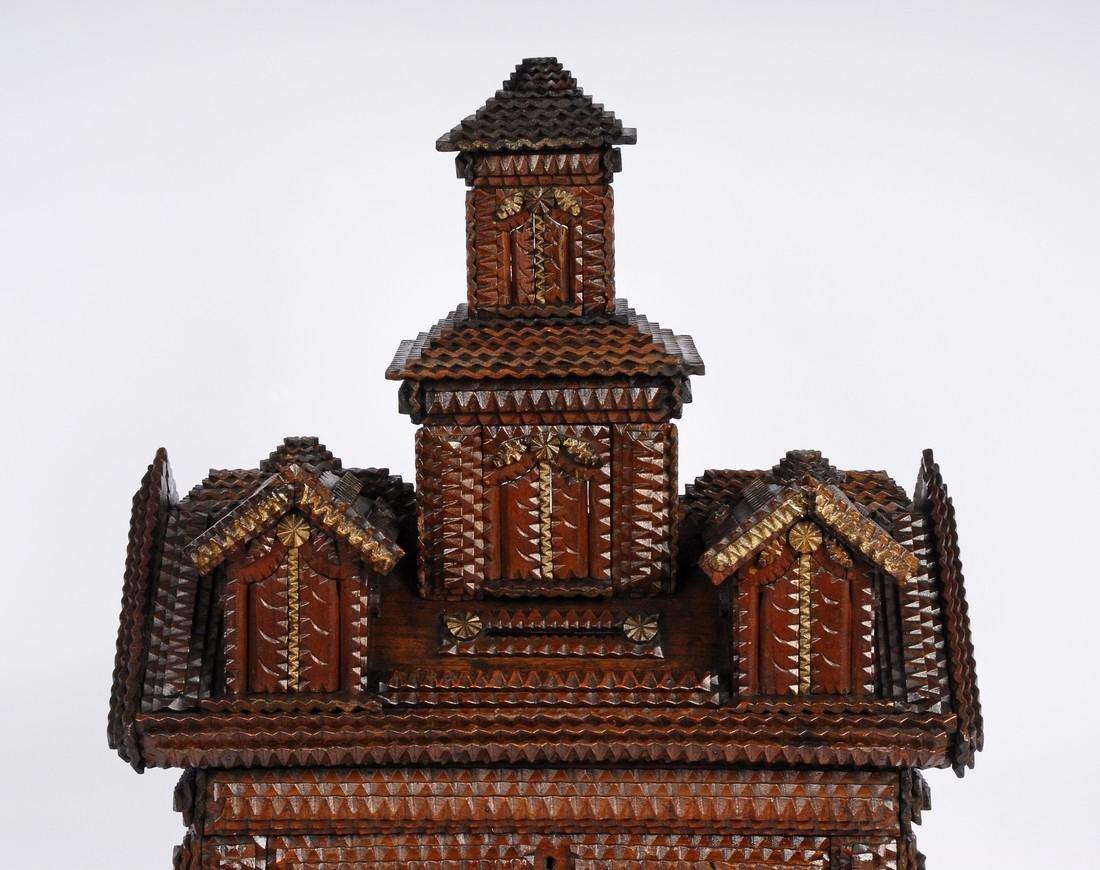 Folk Art Tramp Art House Shaped Box & Tower on Platform - 6