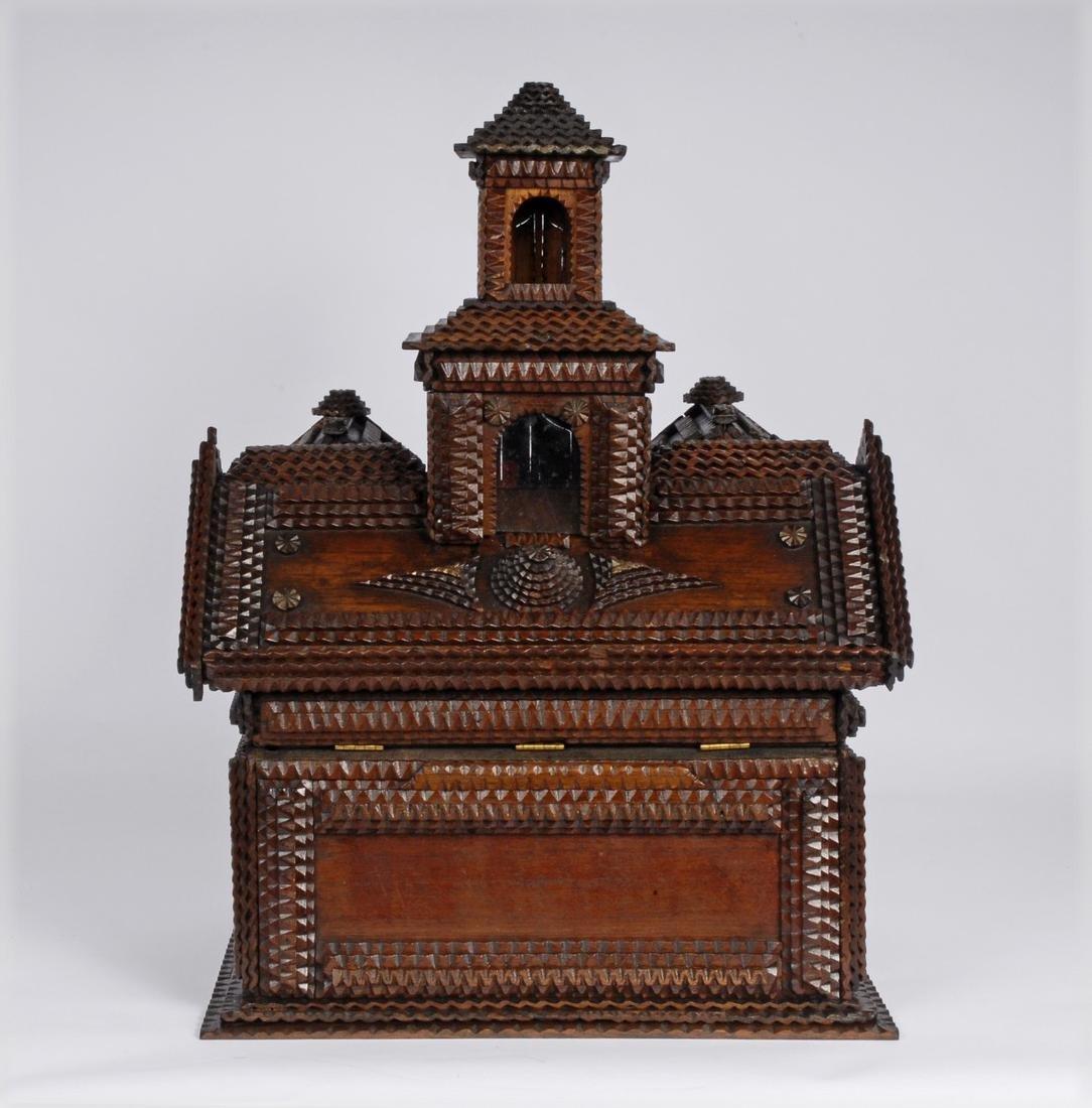 Folk Art Tramp Art House Shaped Box & Tower on Platform - 8