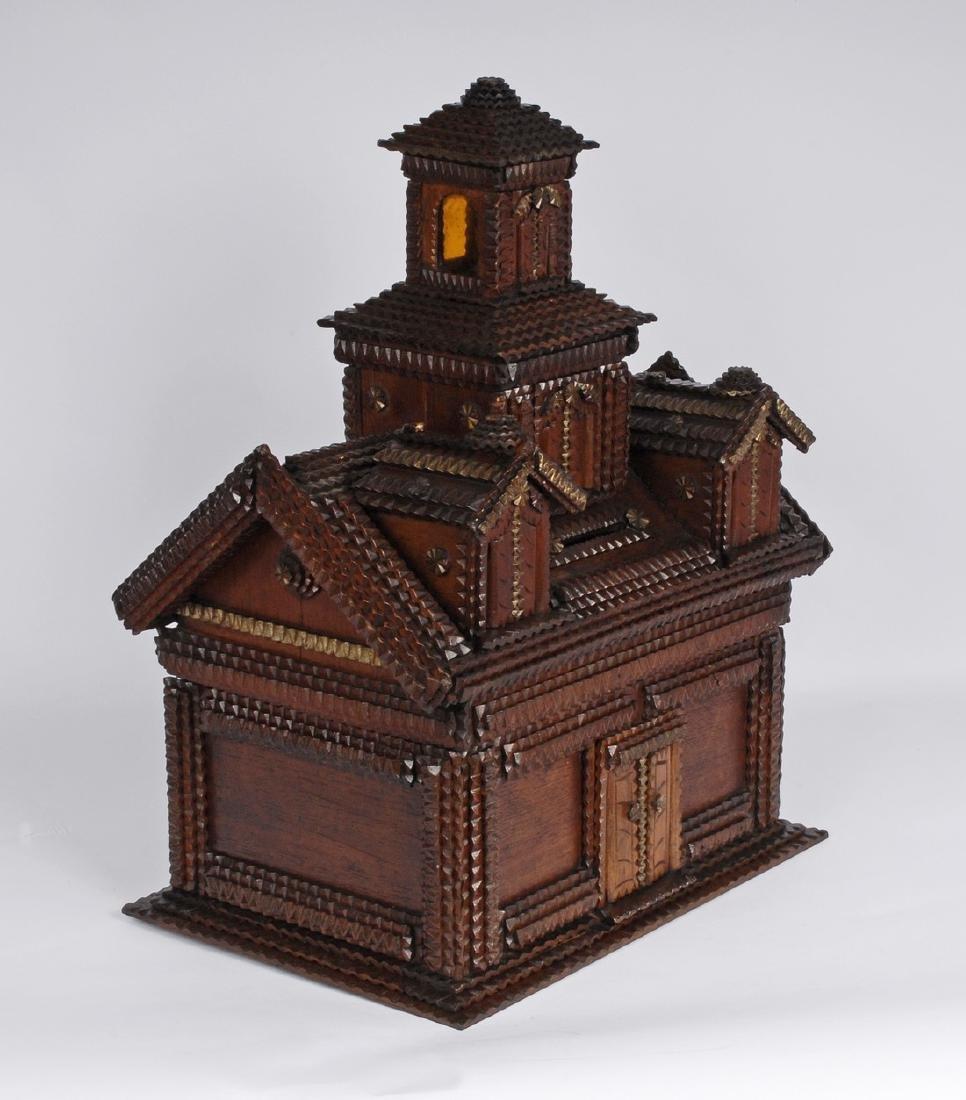 Folk Art Tramp Art House Shaped Box & Tower on Platform - 9