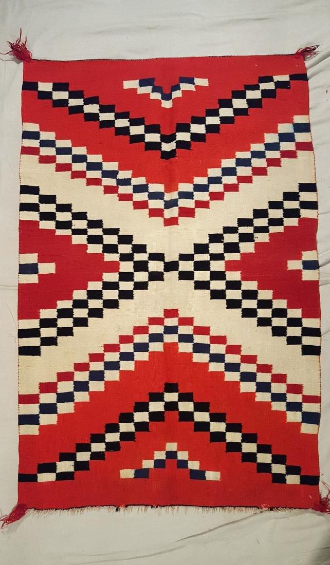Navajo Woven Germantown Woman's Blanket Ca 1900. - 2