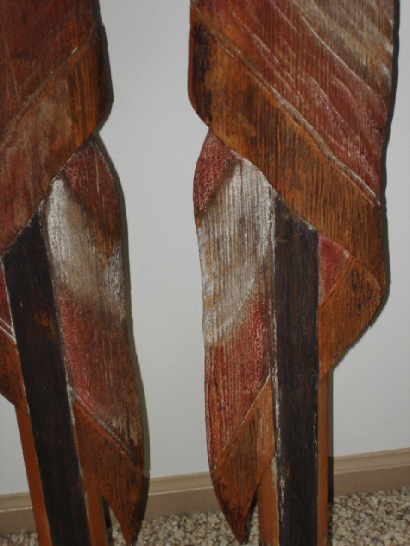 Unique Carved Pair of American Flags - 3