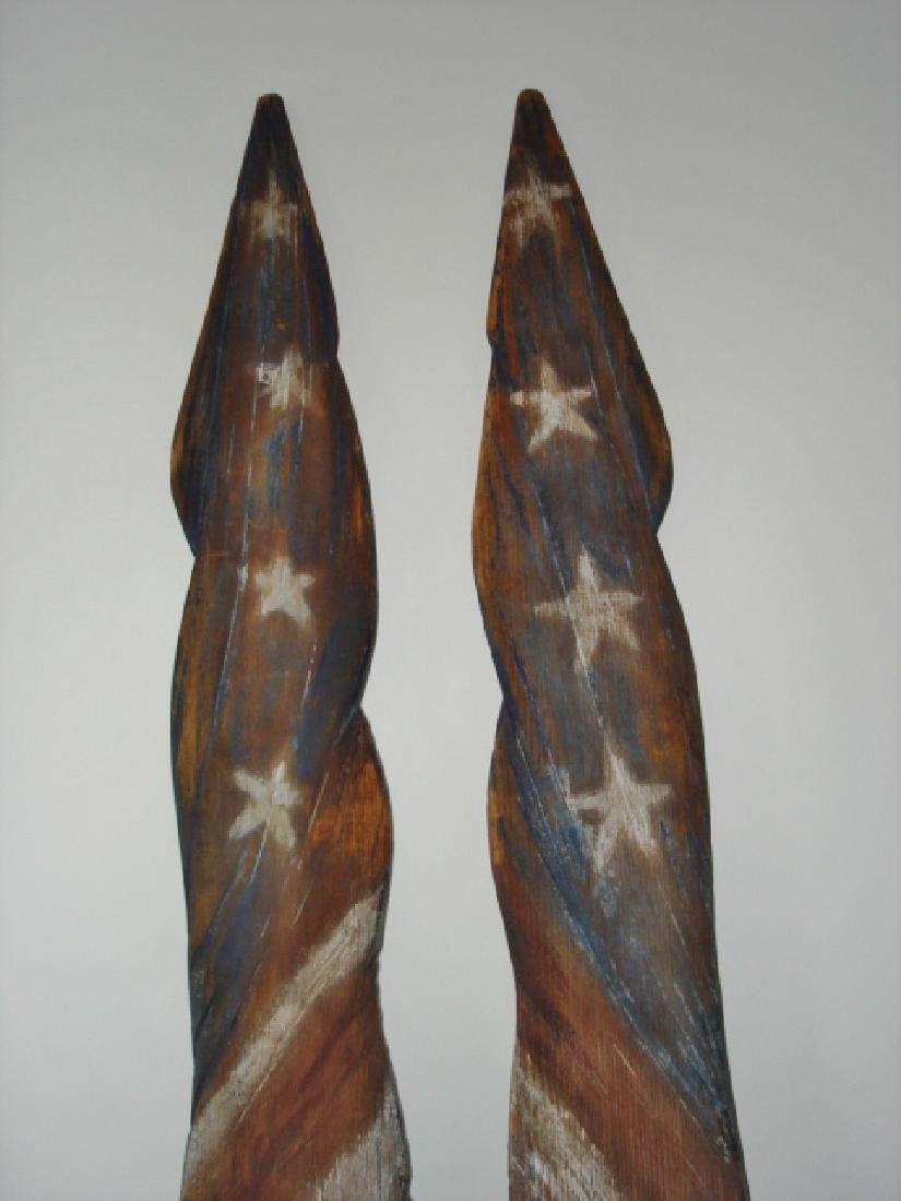 Unique Carved Pair of American Flags - 4
