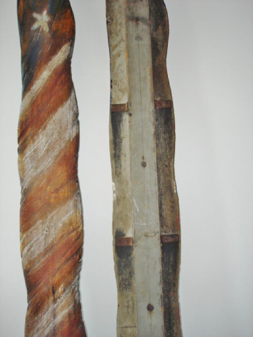 Unique Carved Pair of American Flags - 6