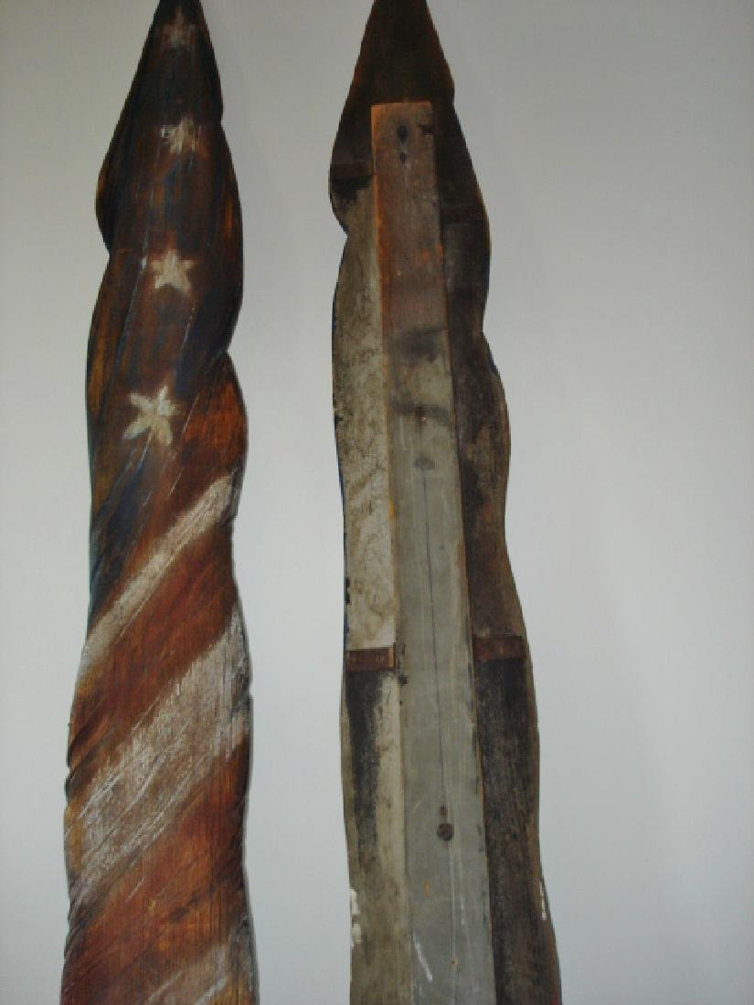 Unique Carved Pair of American Flags - 7