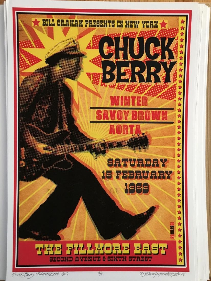 DAVID BYRD - CHUCK BERRY SIGNED POSTER
