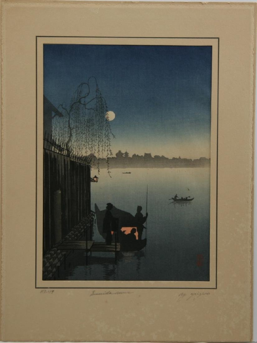 Eijiro Kobayashi Woodblock Evening on the Sumida River