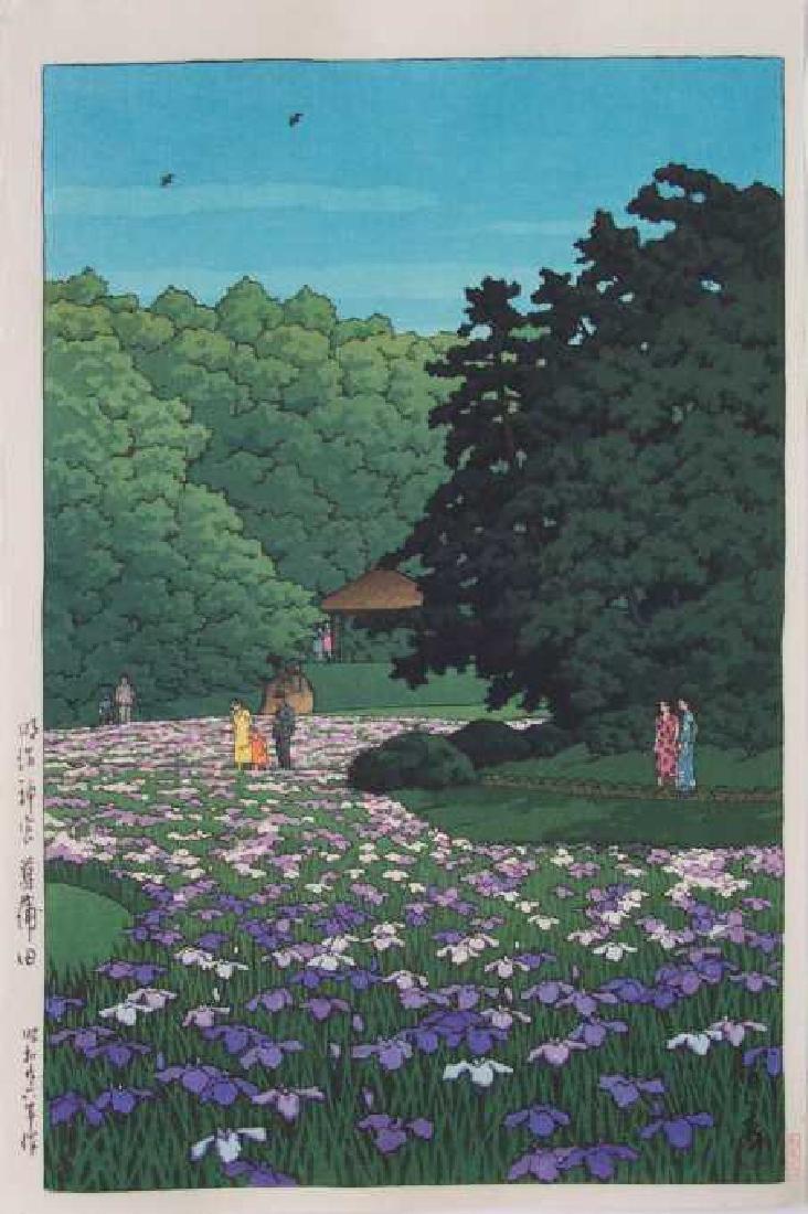 Hasui Kawase Woodblock Iris Gardens at Meiji Shrine