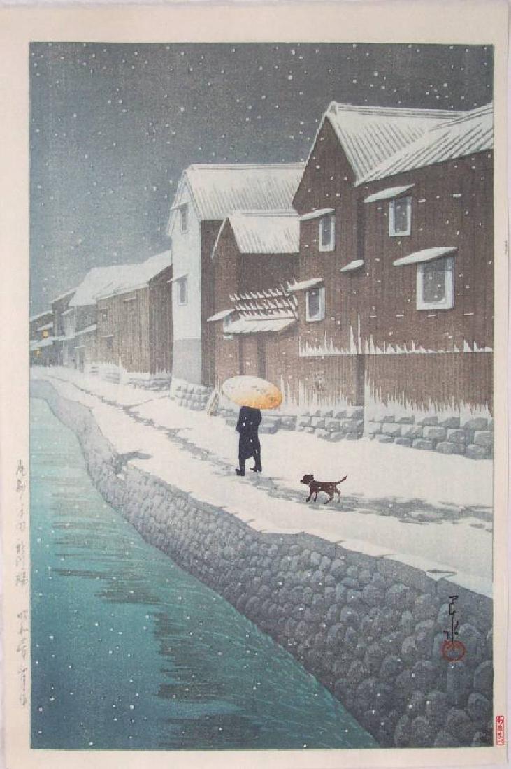 Hasui Kawase Woodblock Snow Shinkawabata, Handa, Bishu