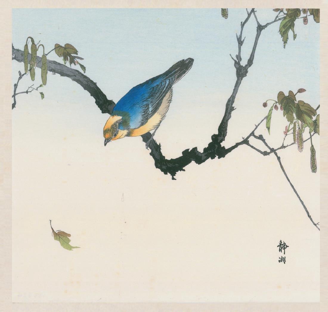 Okuhara Seiko Woodblock Blue Bird on Branch