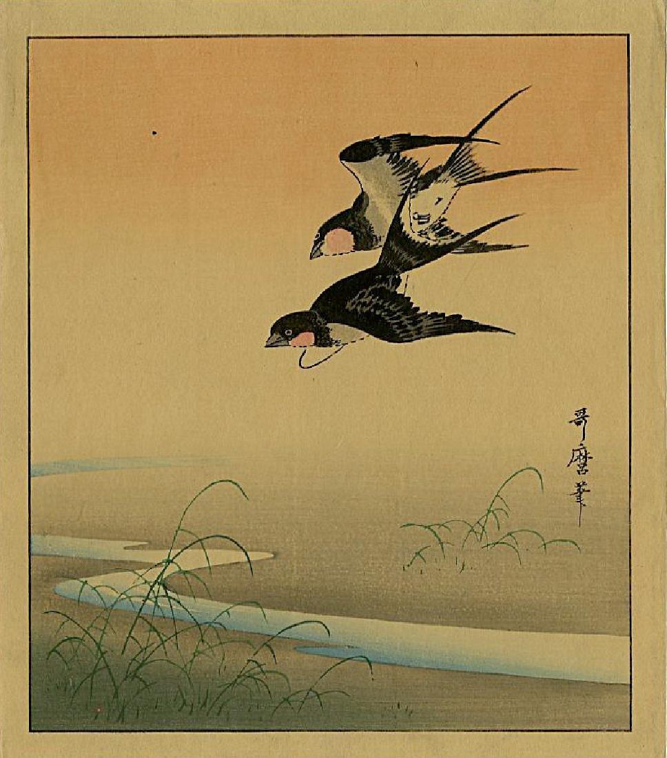 Utamaro Kitagawa Woodblock Swallows in Flight