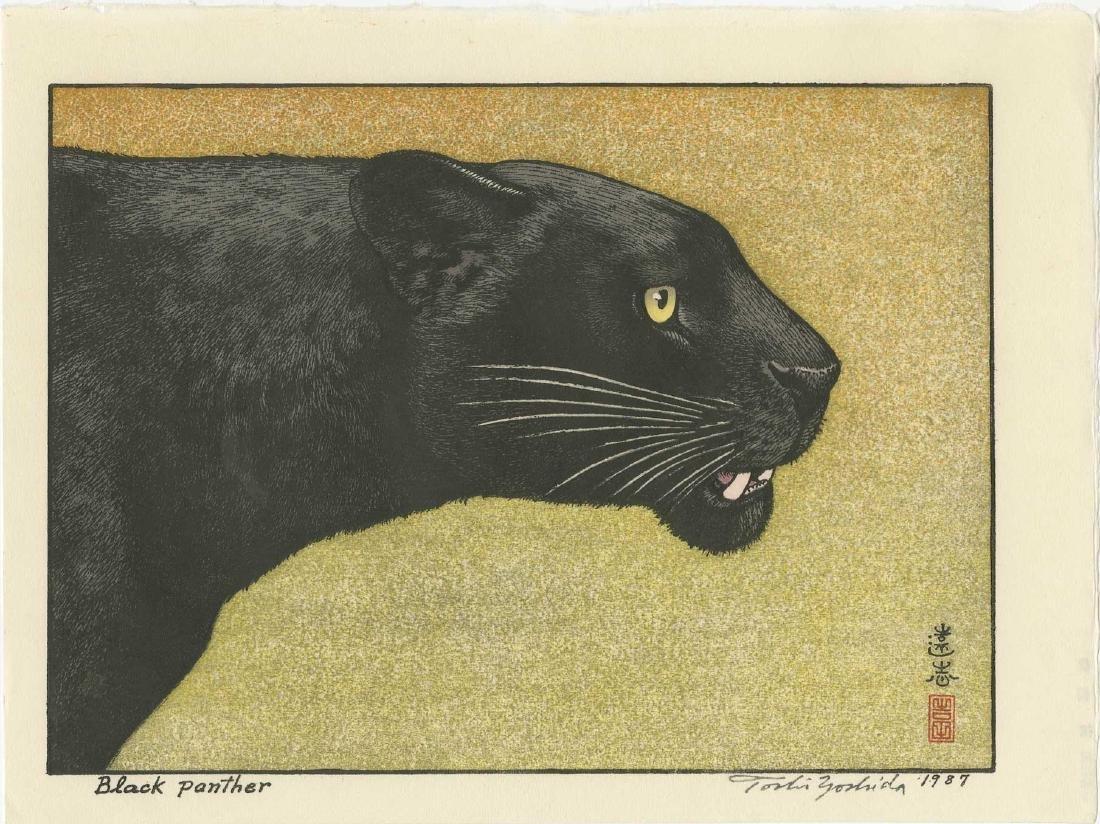 Yoshida Toshi Woodblock Black Panther