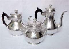 Antique French Henin Sterling Silver Tea Coffee Set
