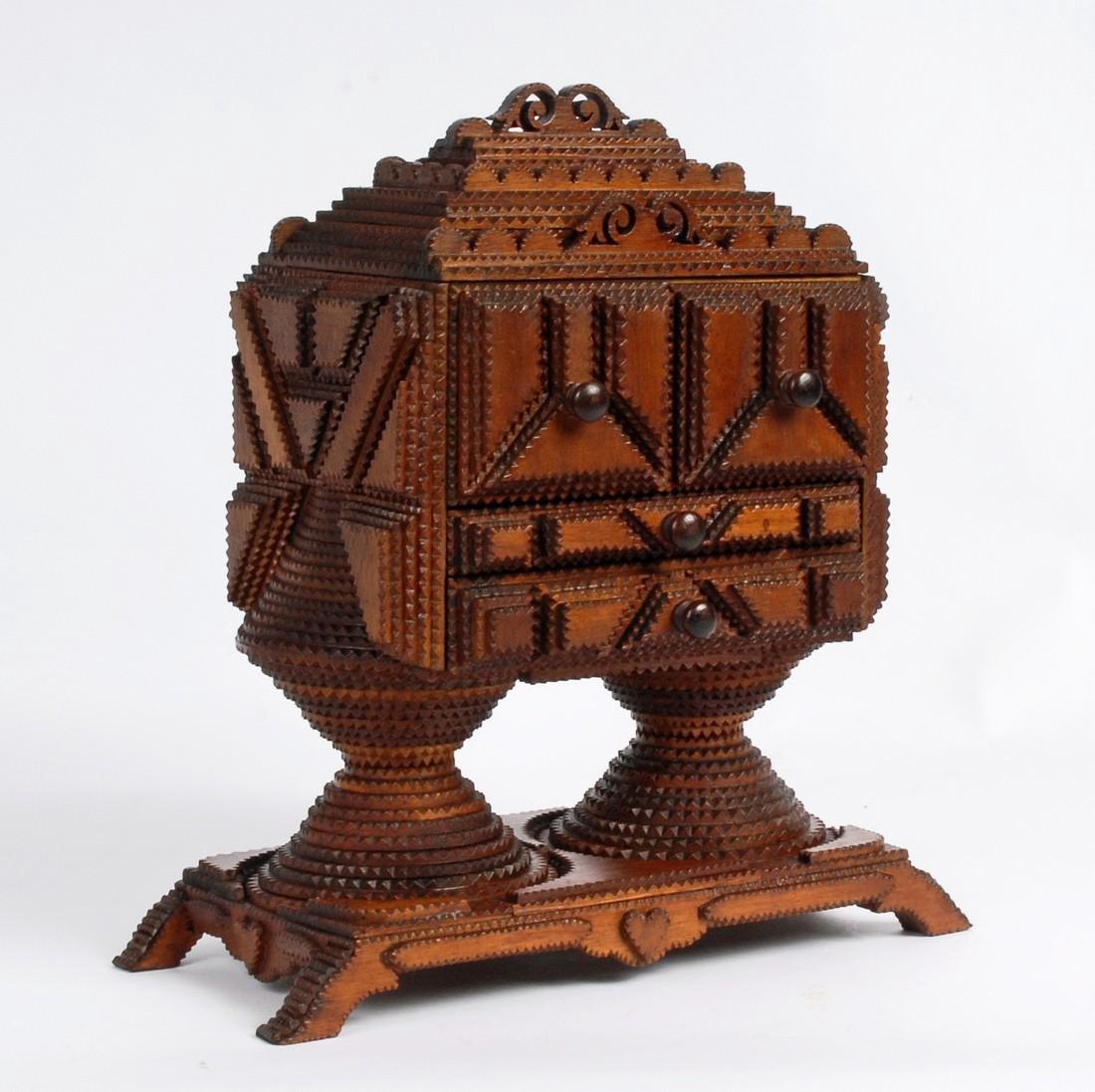 Tramp Art Conical Base Pedestal Box 1880s
