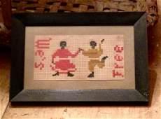 1860s Black Americana folk art needlework