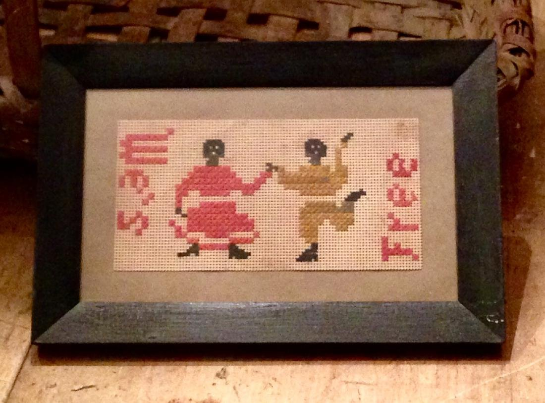 1860's Black Americana folk art needlework-