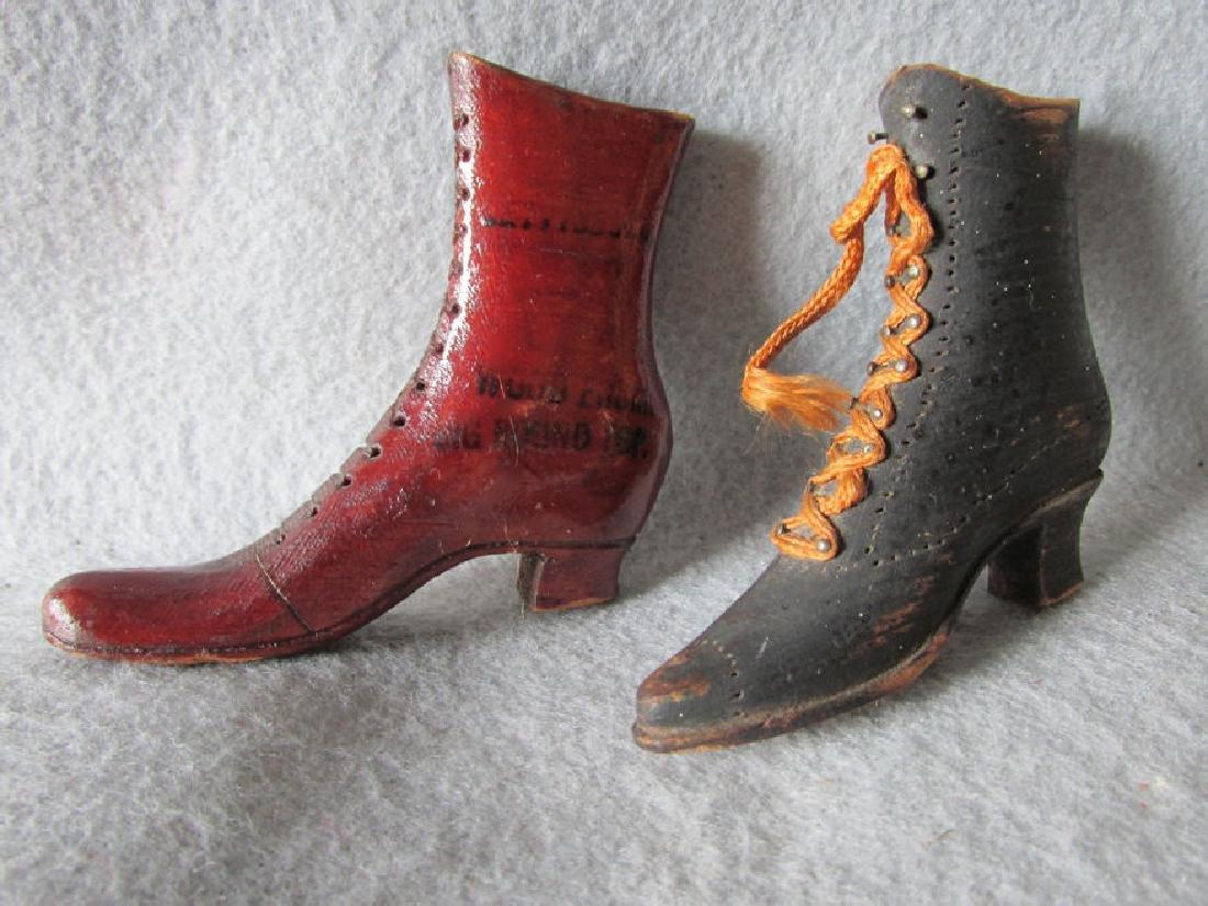 Antique Folk Art Shoes, Wood Round Top Gettsyburg