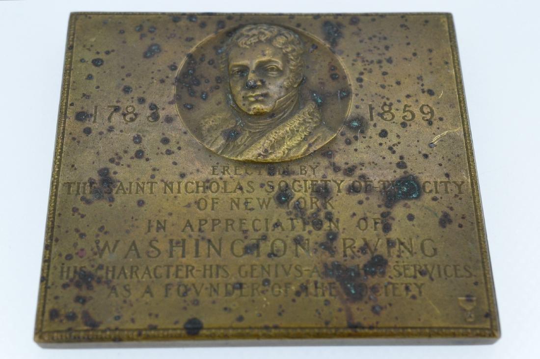 1783-1859 Brass Dedication Plaque to Washington Irving