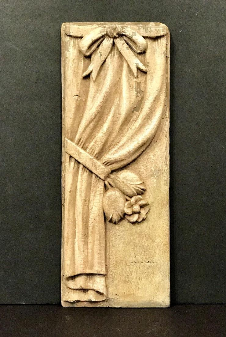 Carved wood drapery panel, 19th c