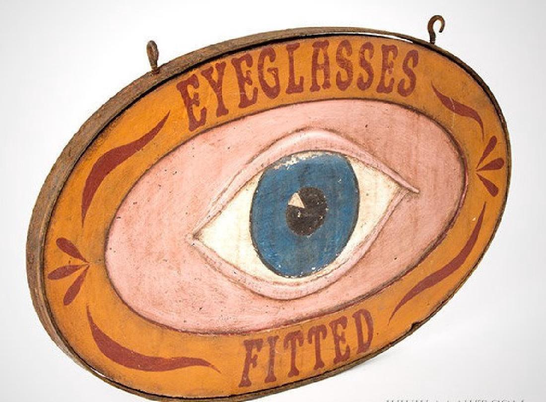 Oval Carved Eye Glasses Trade Sign