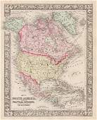 1860 map of North America by S. Augustus Mitchell; near