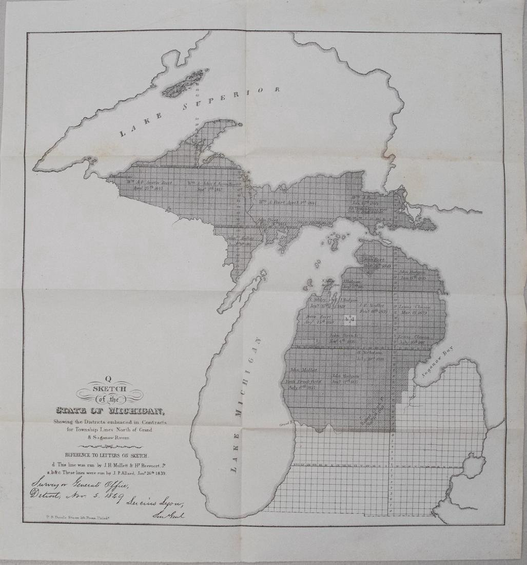 1849 Government Survey Map of Michigan -- Q Sketch of