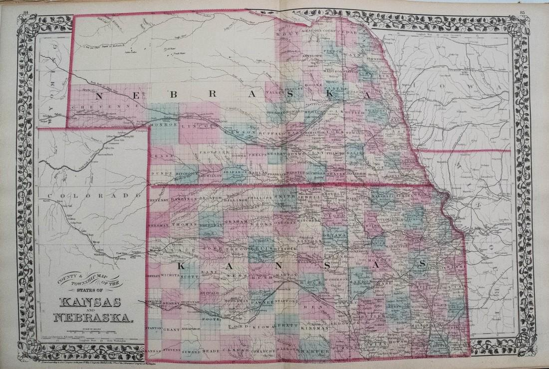 1878 Mitchell Map of Kansas and Nebraska -- County &
