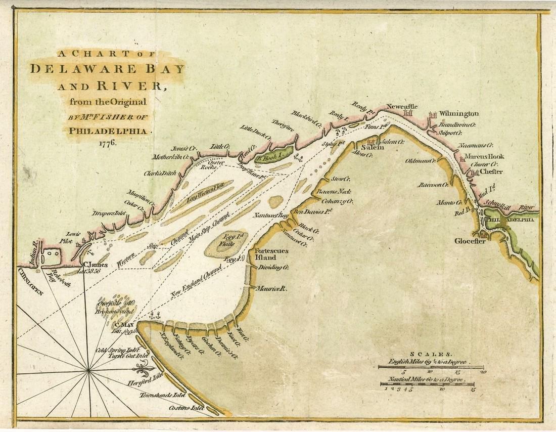 Revolutionary War era chart of Delaware Bay and River