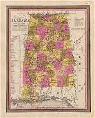 Clean 1848 Mitchell hand-colored map of Alabama