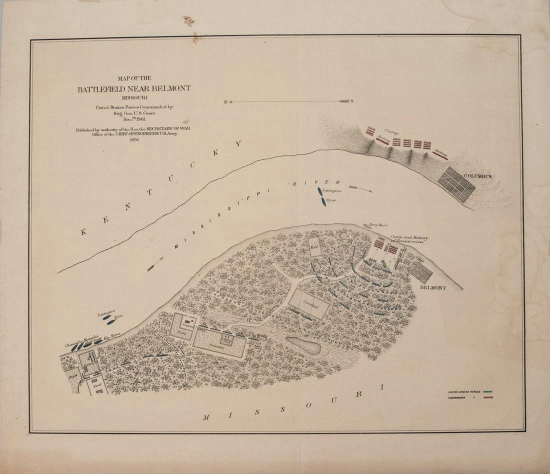 1876 U.S. War Department Map of Belmont, MO Civil War