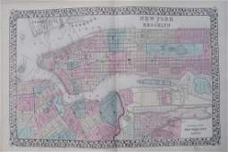 1878 Mitchell Map of New York and Brooklyn -- New York
