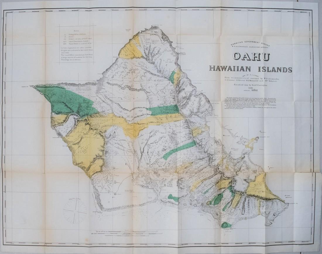 1881 Hawaii Government Map of Oahu -- Oahu Hawaiian