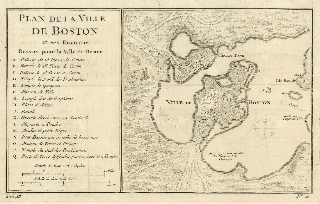 Antique French Map and Plan of Boston, Massachusetts