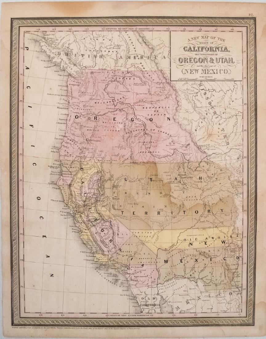 1850 Cowperthwait Map of California, Oregon, Utah and