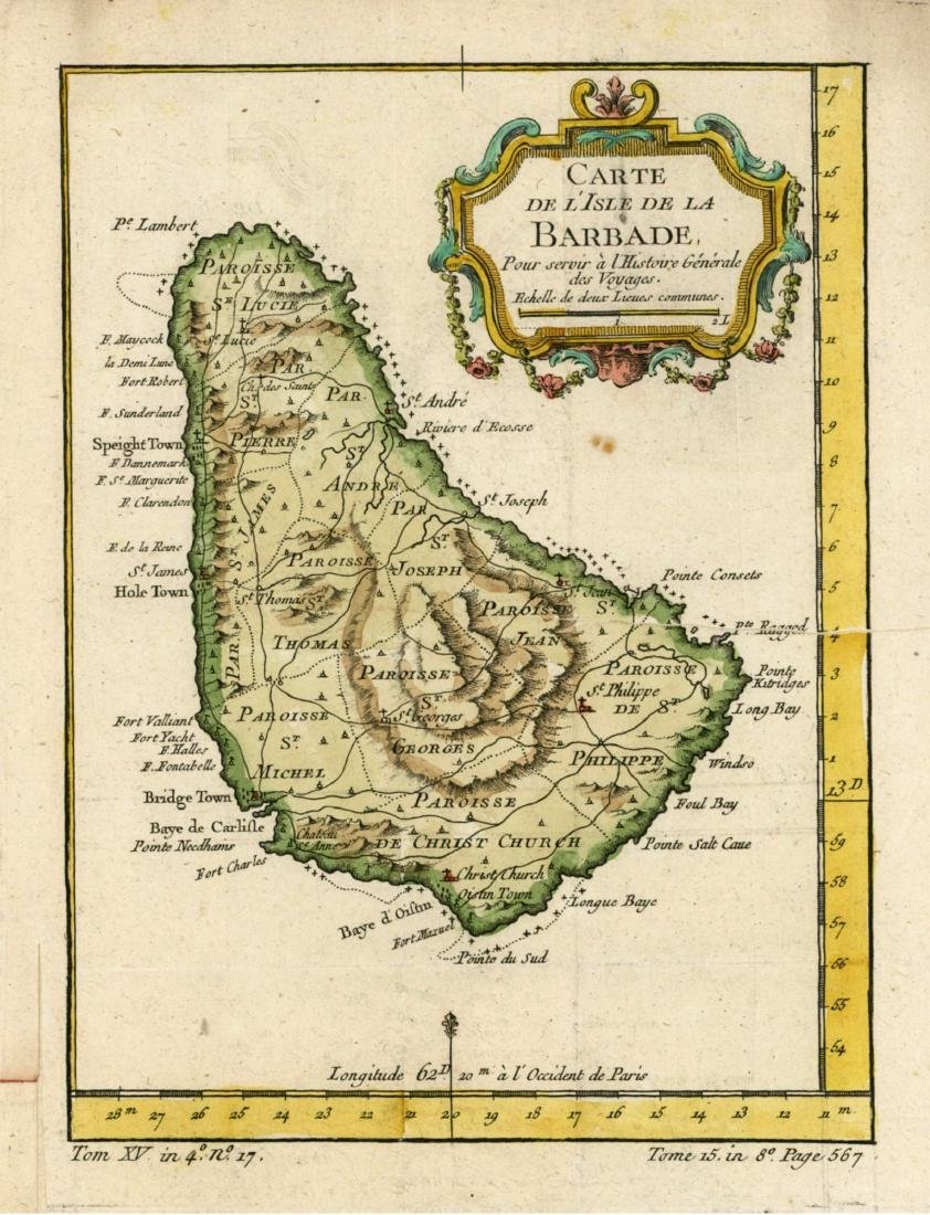 Small antique map of Barbados in the Caribbean